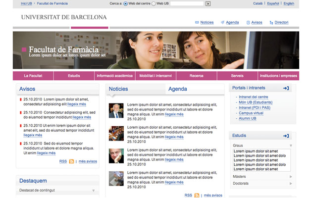 UB Website herontworpen door rediseñado por Optimyzet: homepage