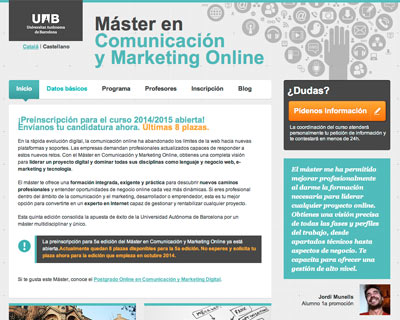 Web development for Master in Communication and Online marketing